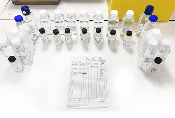 Water testing samples with cerificate